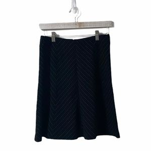 INC Black with Teal Pinstripes Short A-Line Skirt